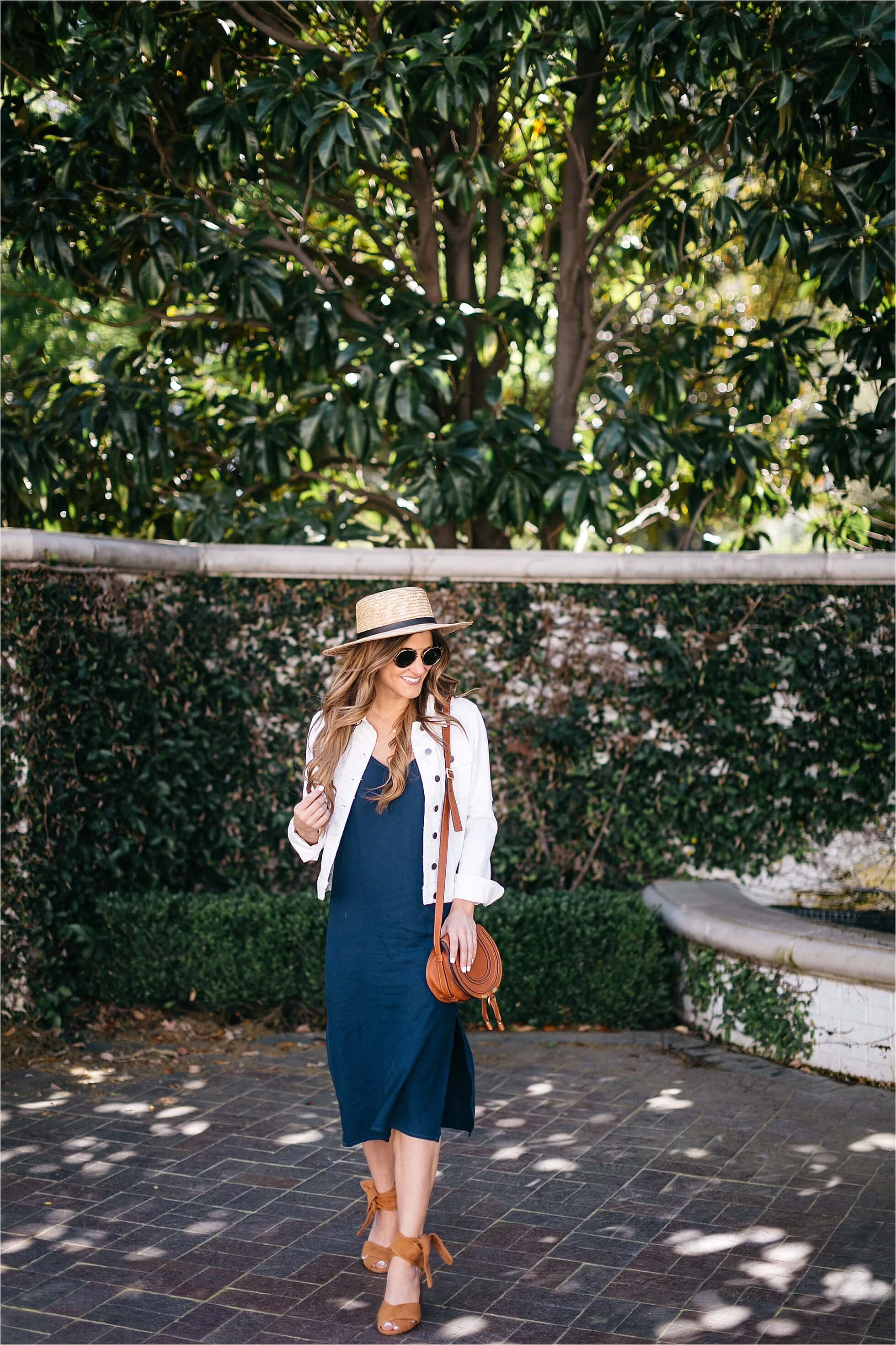how to style a slip dress, boater hat, chloe drew bag, spring outfit