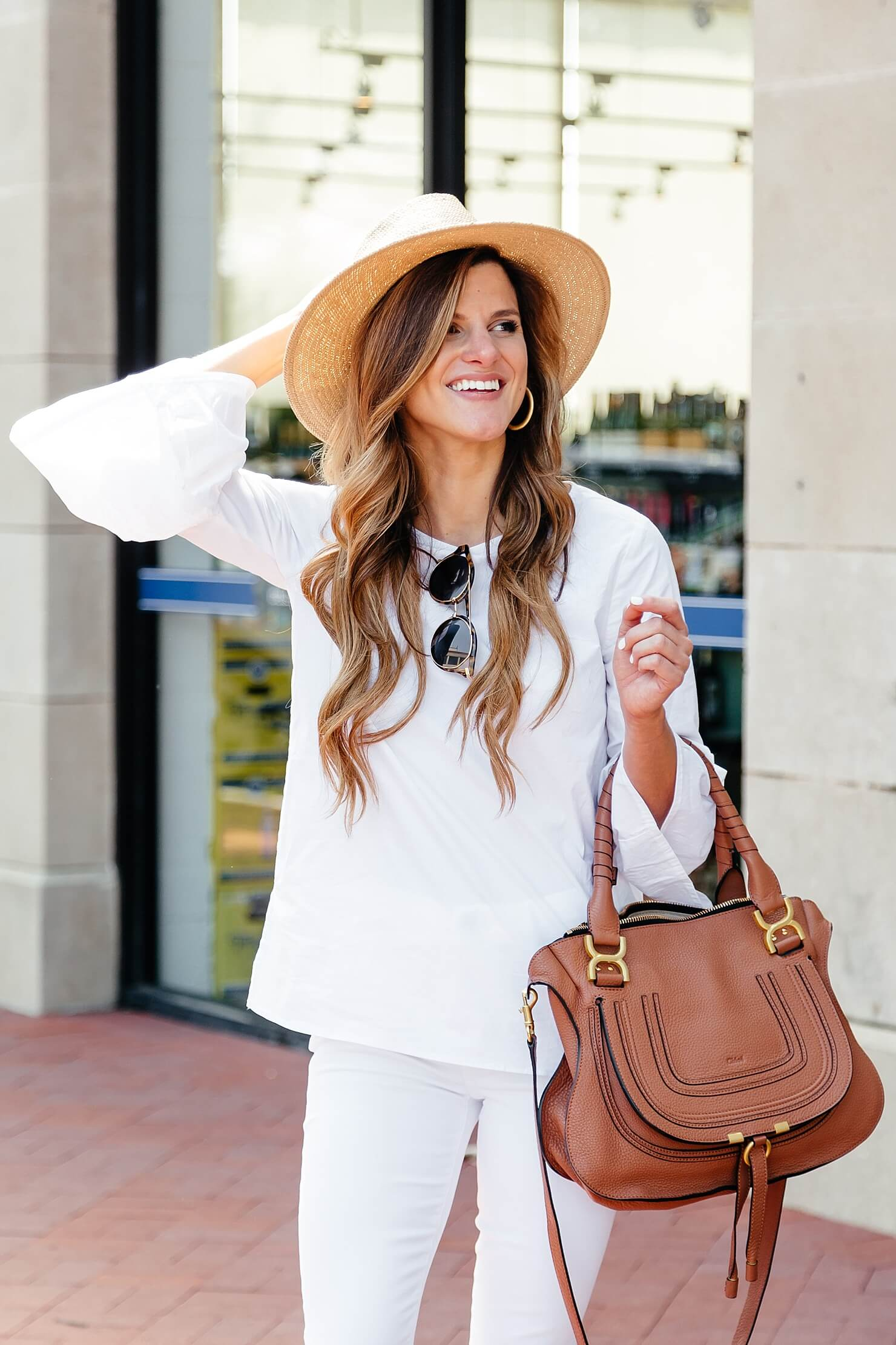 white on white outfit, all white outfit, white peplum sleeve top, bell sleeve top, how to wear all white in spring outfit