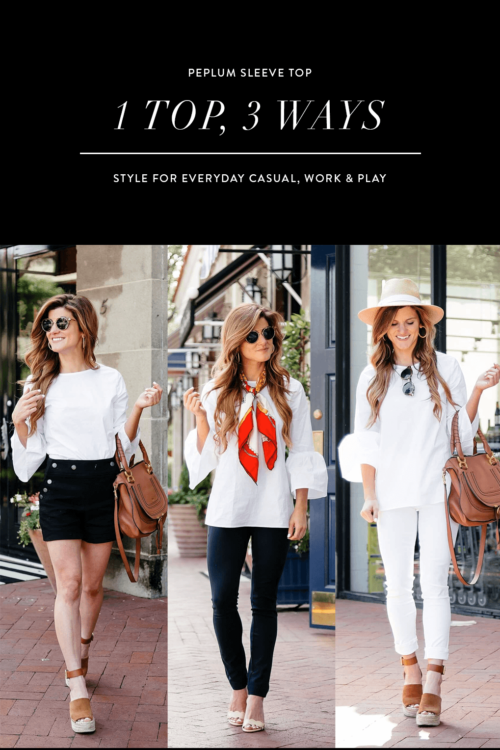 white bell sleeve top styled 3 ways