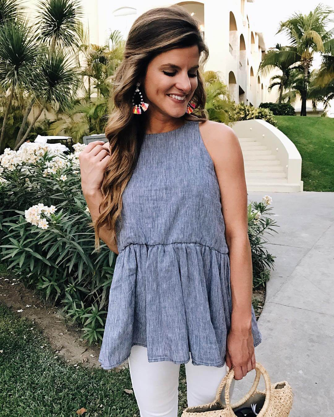 favorite peplum tank with white jeans and statement earrings