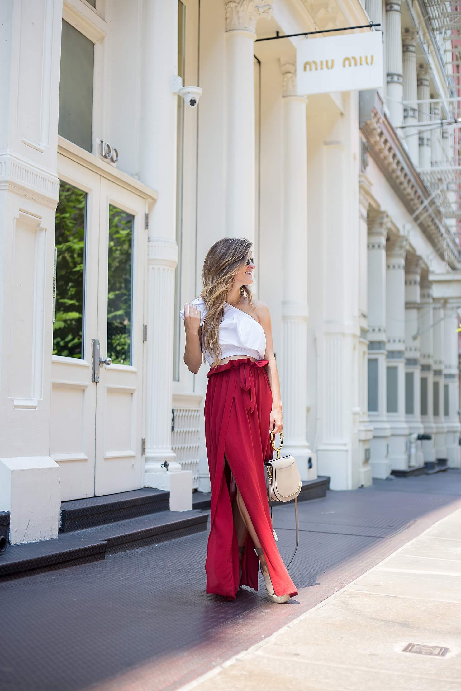 high-wasited high-slit maxi skirt and one shoulder crop top with marc fisher wedges in NYC