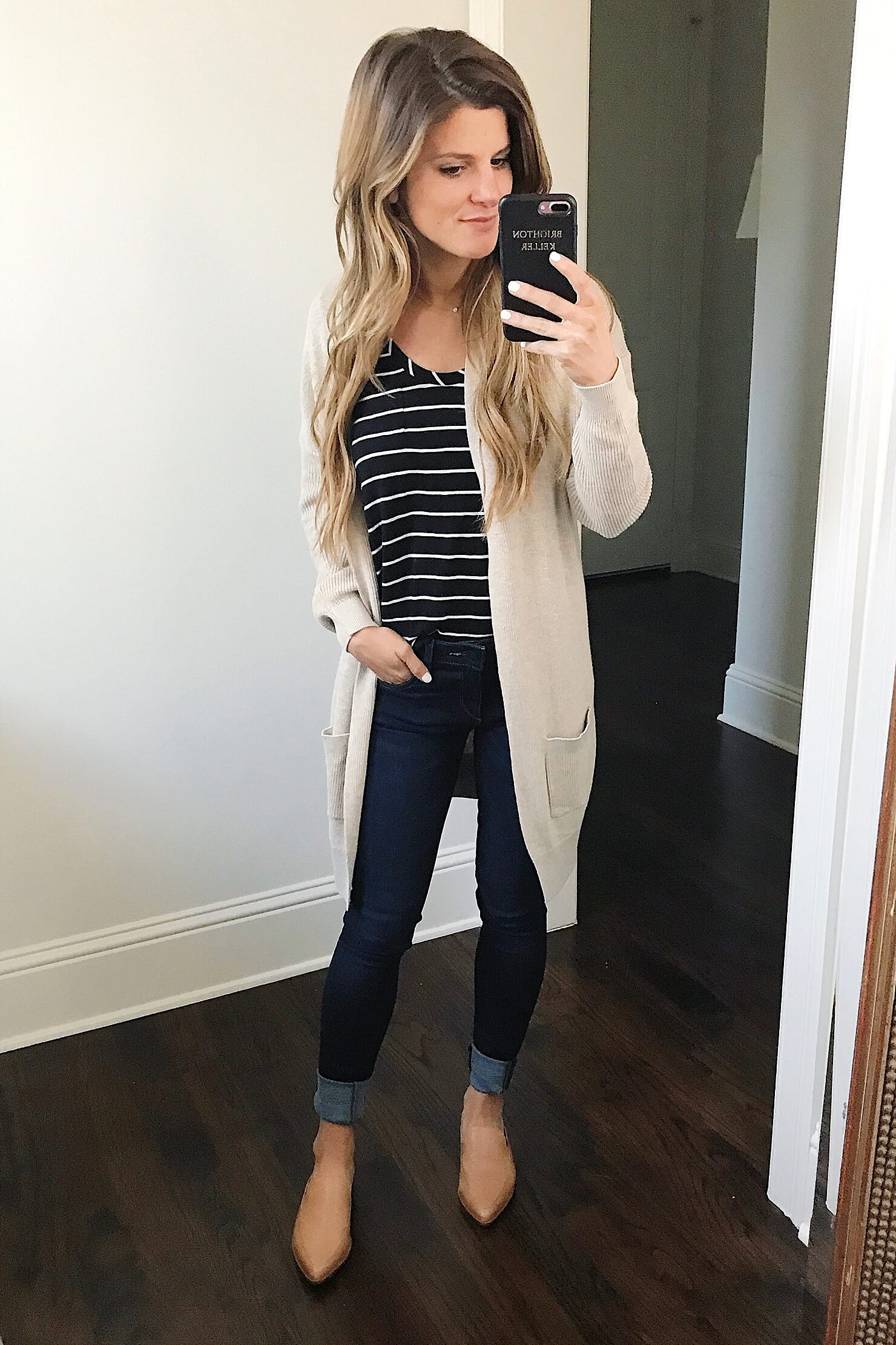 NSALE cardigan, striped tee, jeans