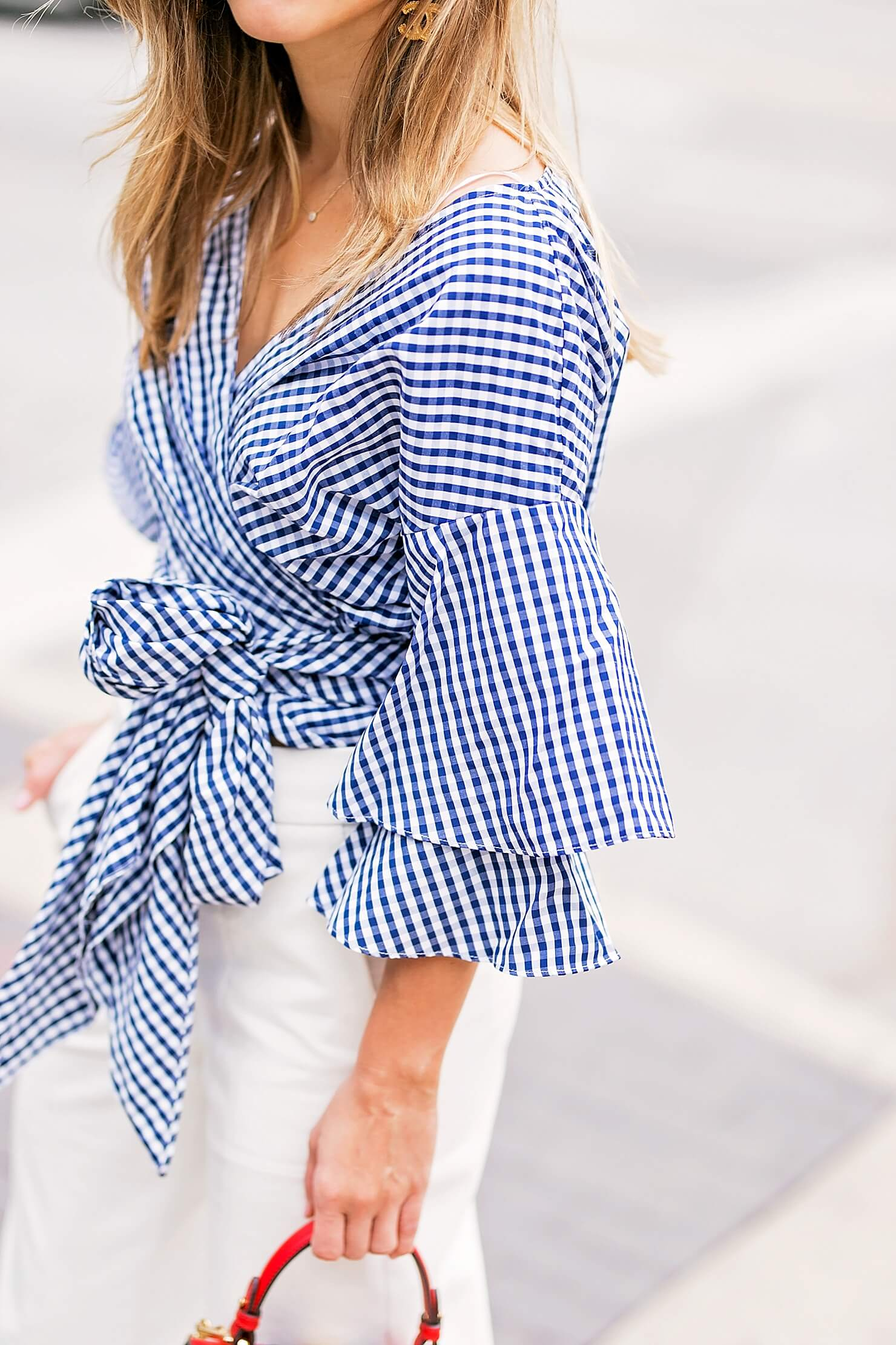 ruffle sleeve gingham wrap top detail