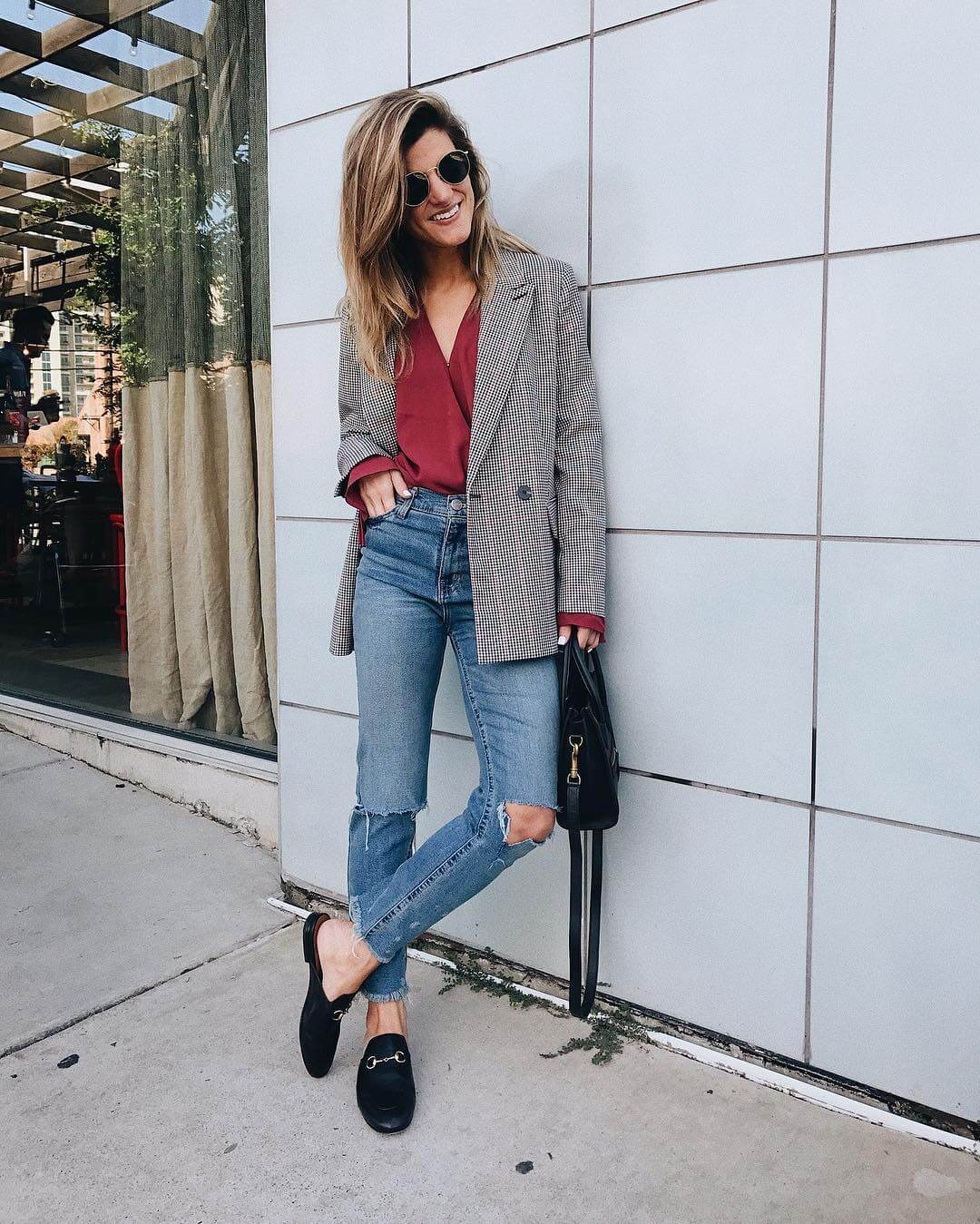 plaid blazer, burgundy blouse with mom jeans and slides