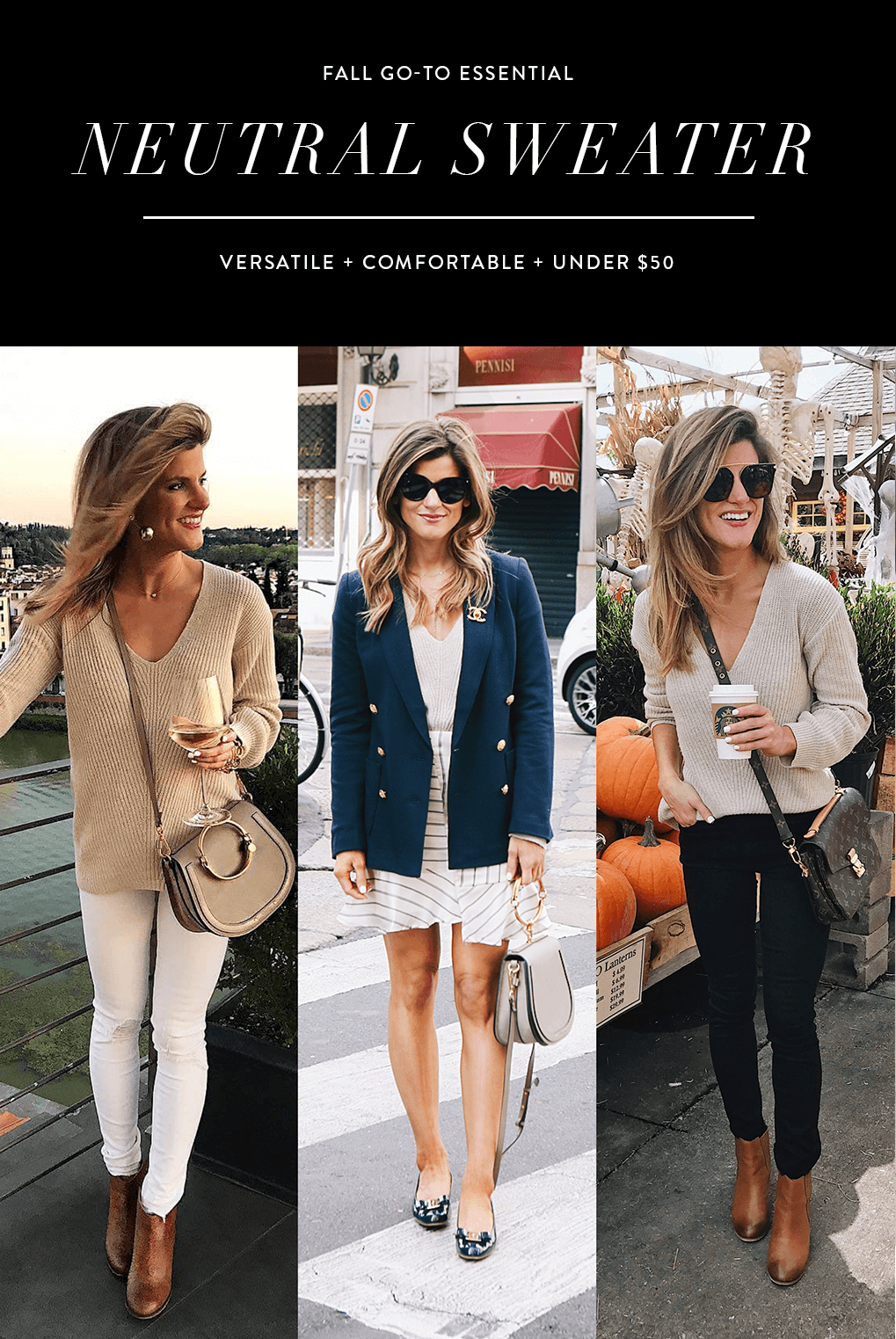 fall essential neutral sweater three outfit ideas with oatmeal sweater