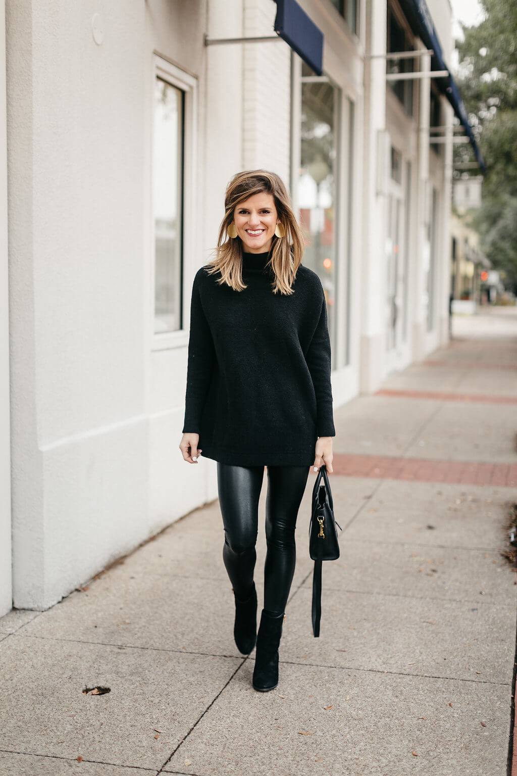 59a6ccce1dad1 black tunic sweater, leather leggings, and black booties