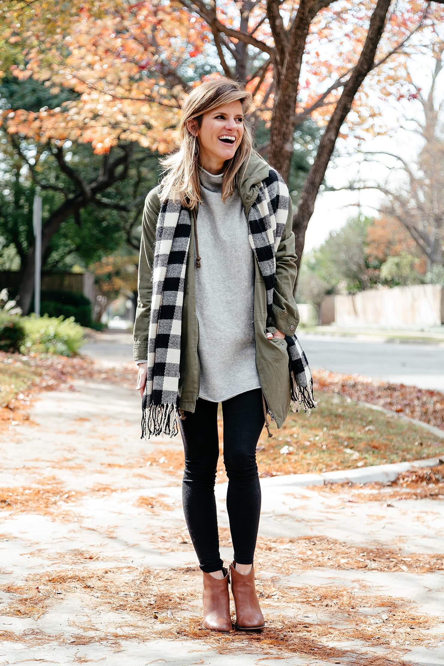 black leggings outfit with grey tunic, scarf, brown booties 11