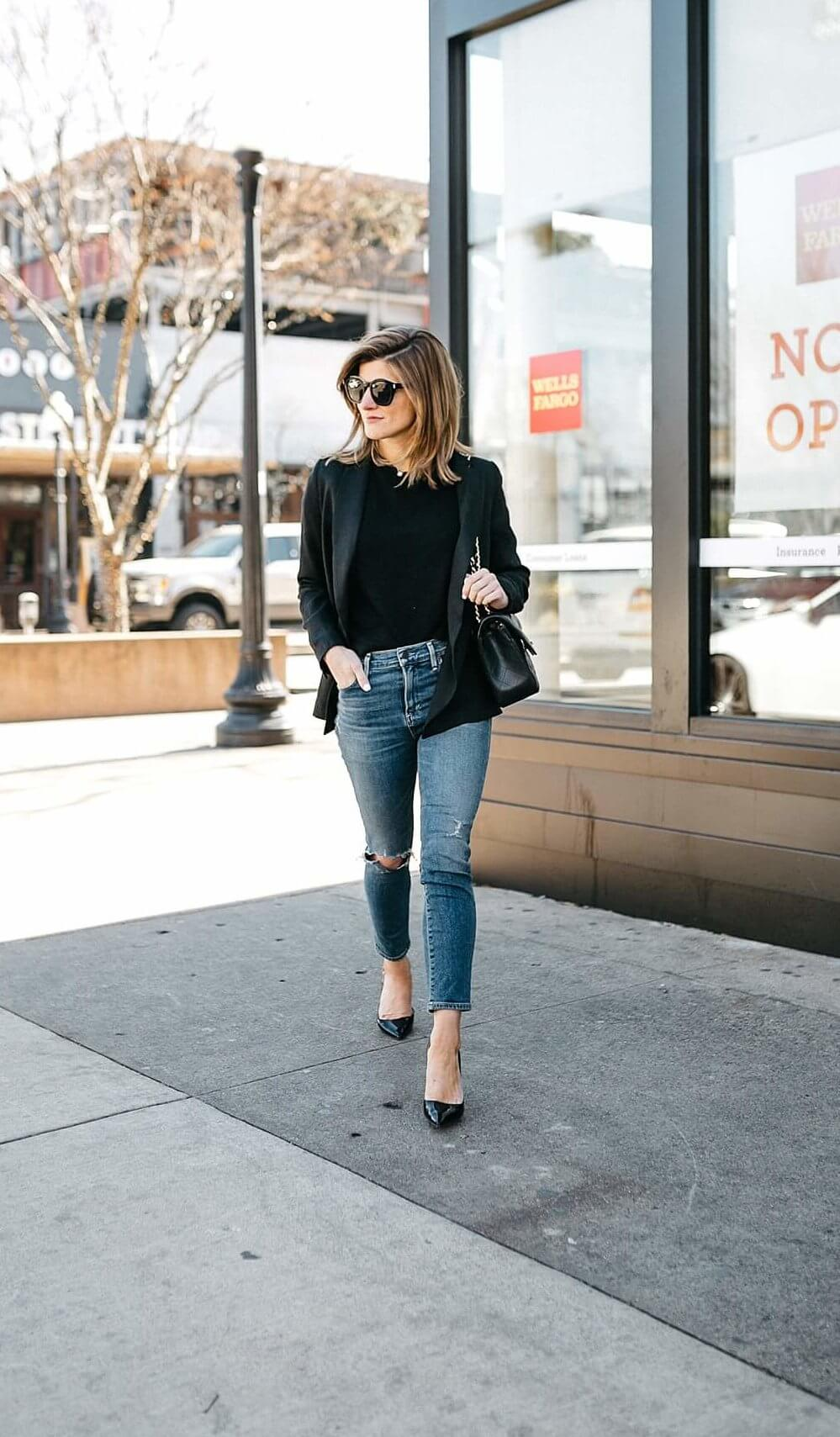 black blazer and jeans outfit