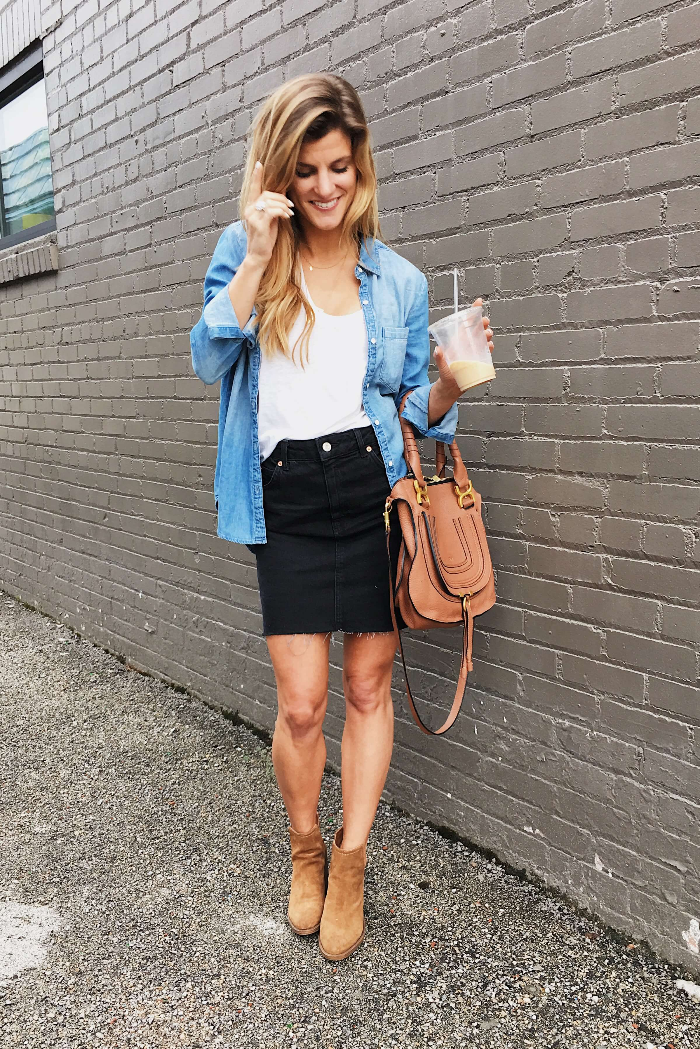 black skirt, chambray shirt, white camisole, suede booties