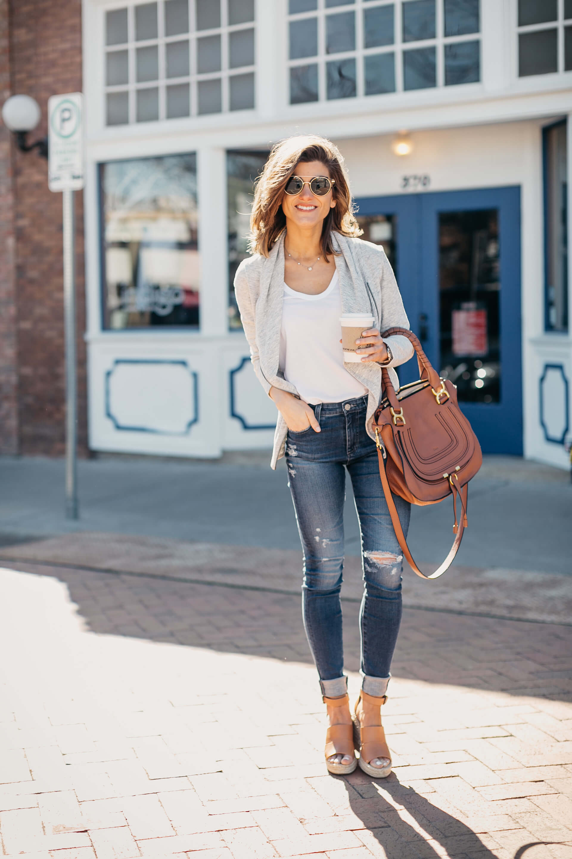 distressed jeans, grey caslon jacket, white tank, neutral wedges, casual Spring look 1 8