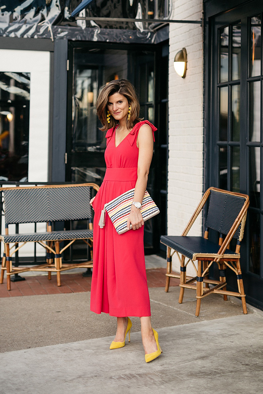 what to wear to a summer wedding: springtime jumpsuit