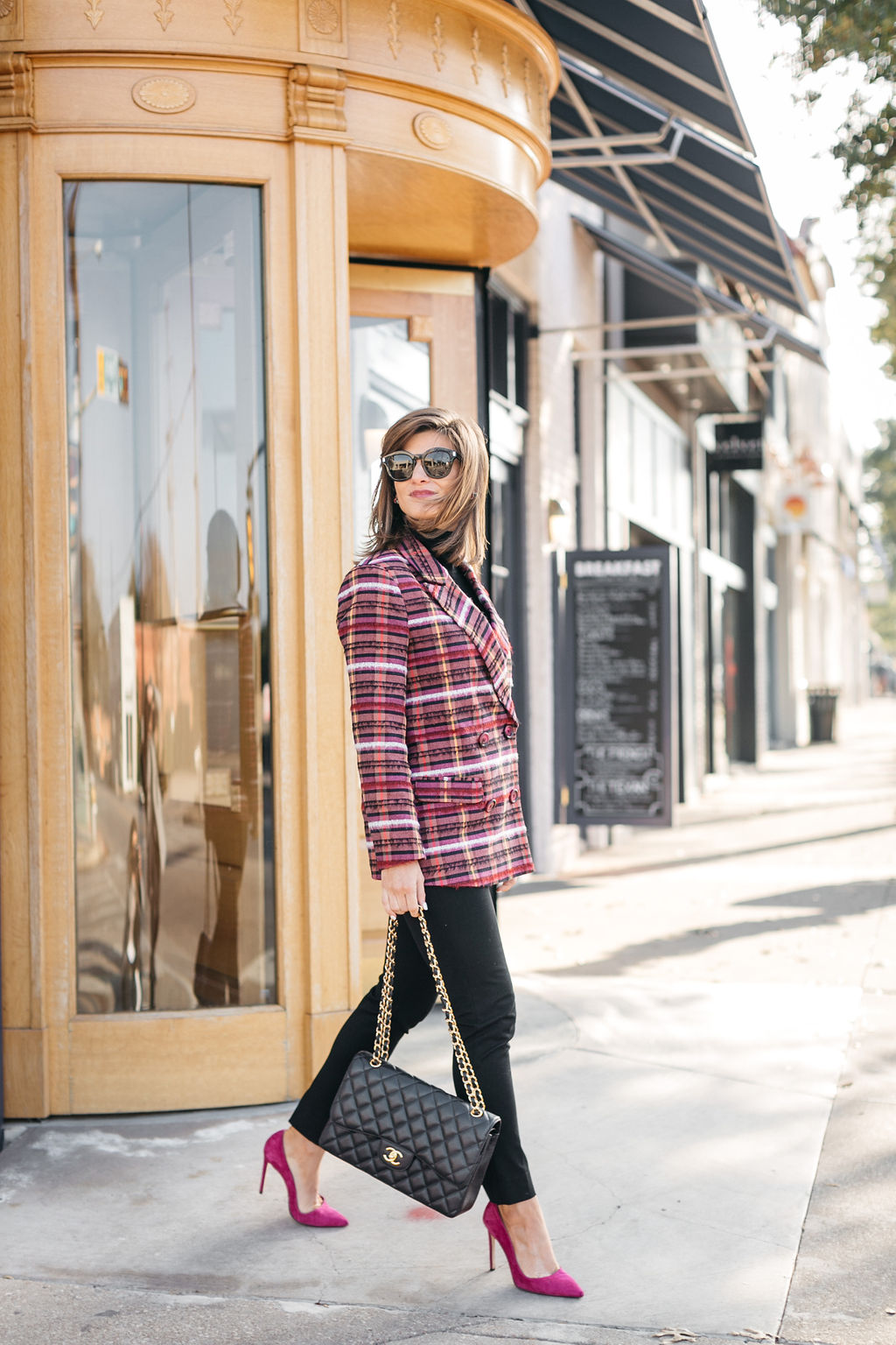 all black outfit plaid blazer hot pink pumps Chanel bag holiday snappy casual look