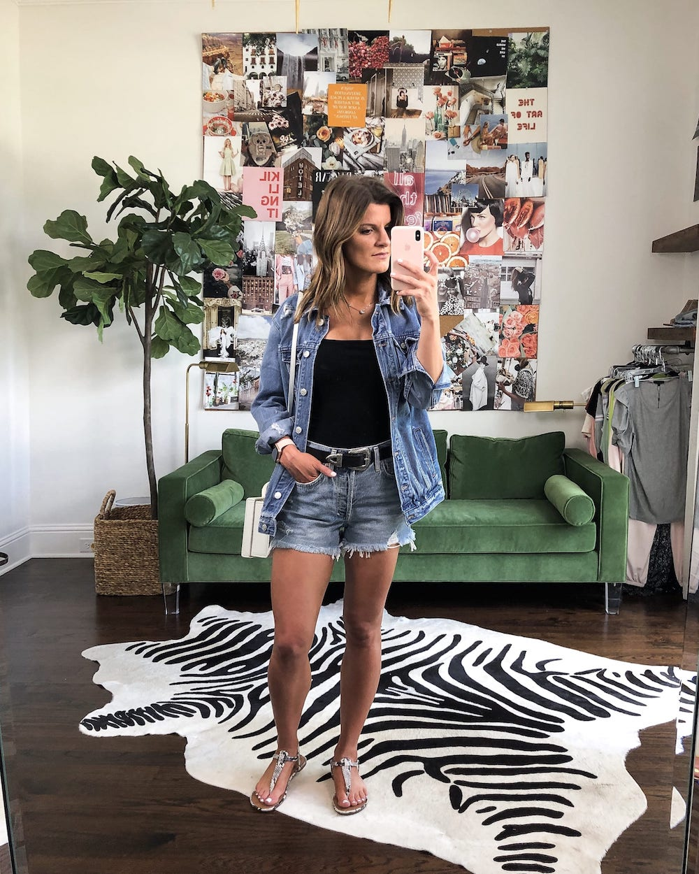 jean shorts outfit with jean jacket
