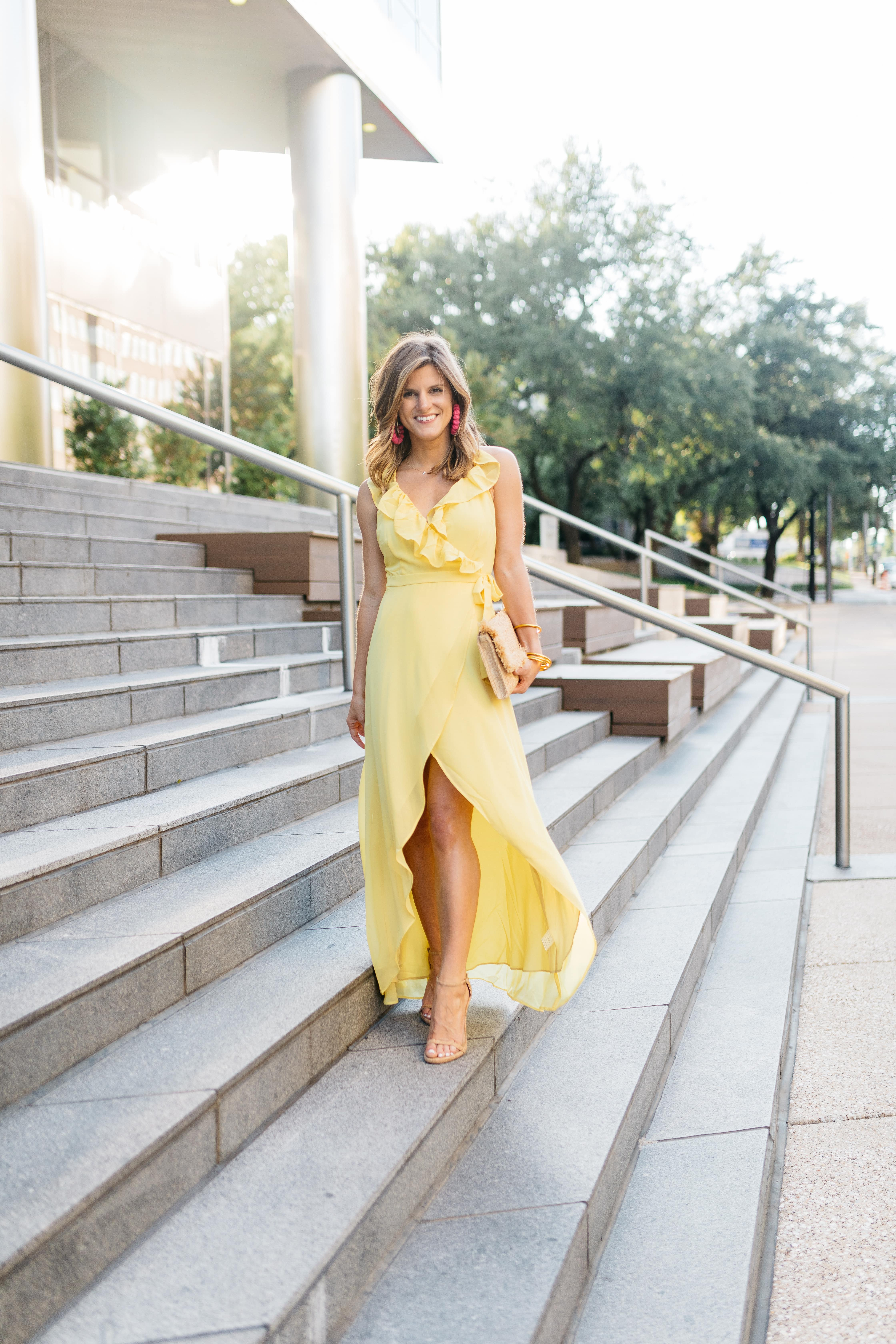 what to wear to a summer black tie wedding yellow long dress