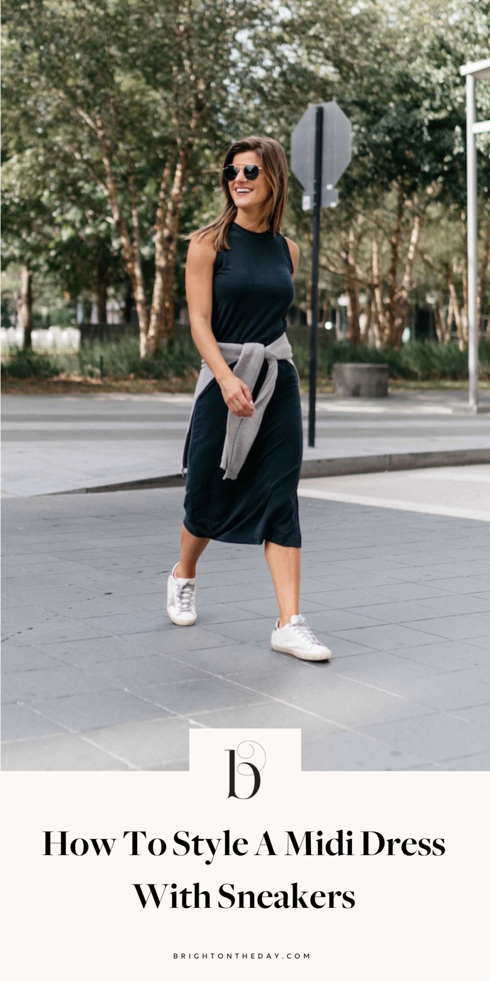 brighton keller wearing black midi dress with sweater and sneakers