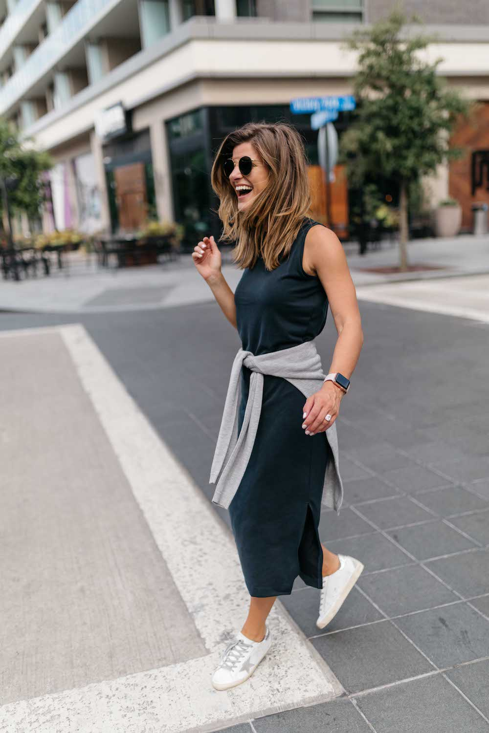 How To Style A Midi Dress With Sneakers