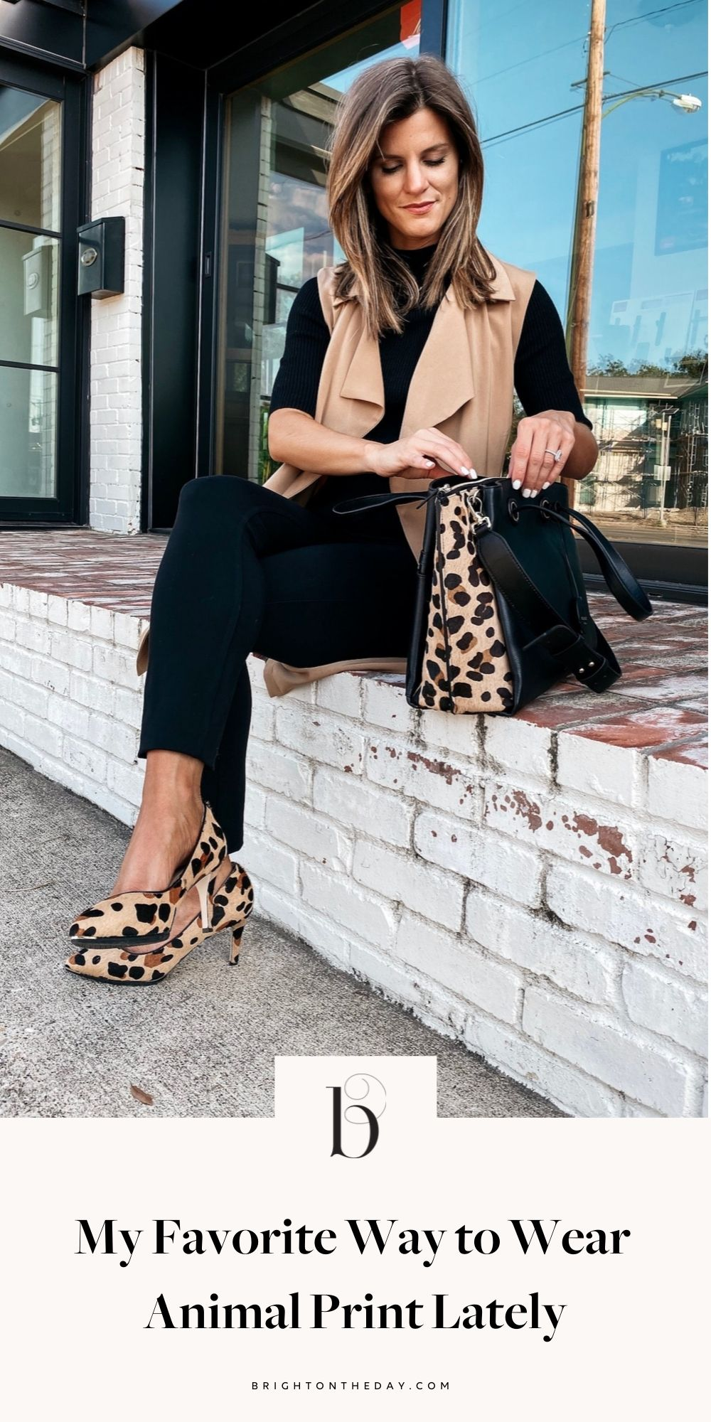 brighton keller wearing cole haan leopard pumps and purse with black pants black sweater and tan vest