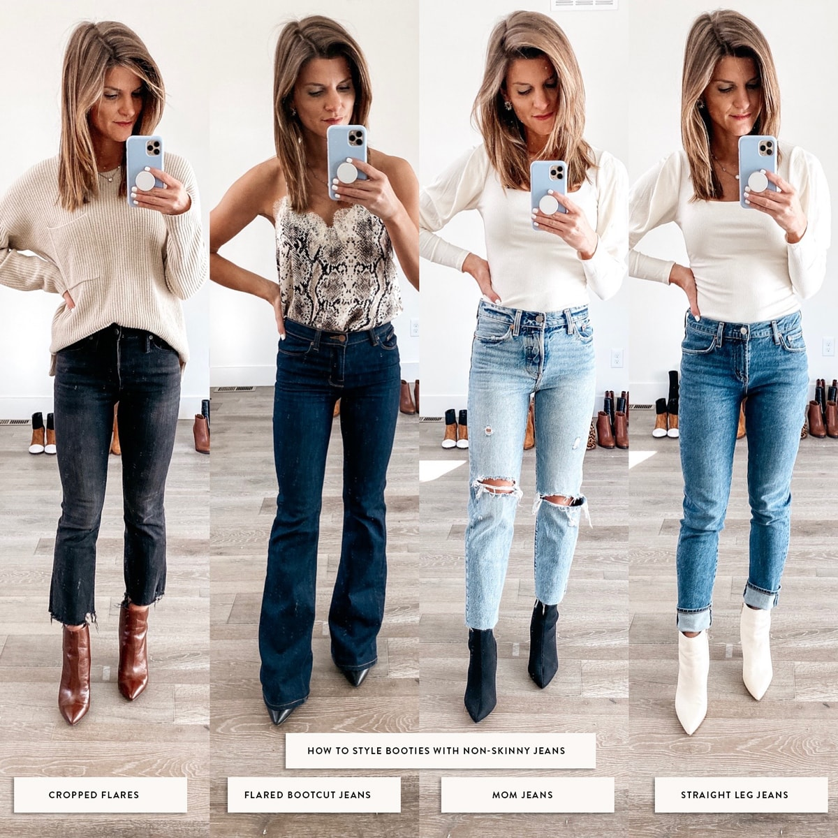 how to style booties with wider jeans