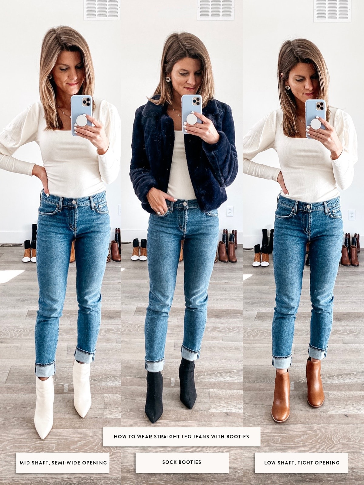 how to wear booties with straight leg jeans