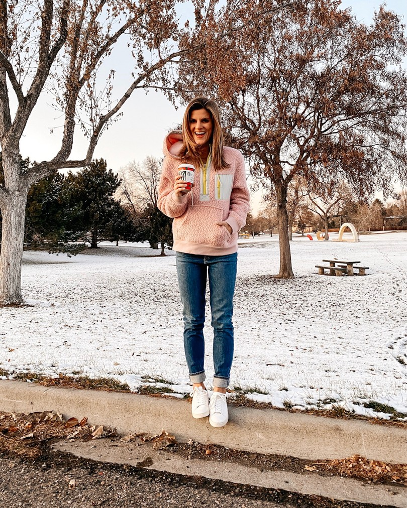 brighton keller pink pullover with sneakers