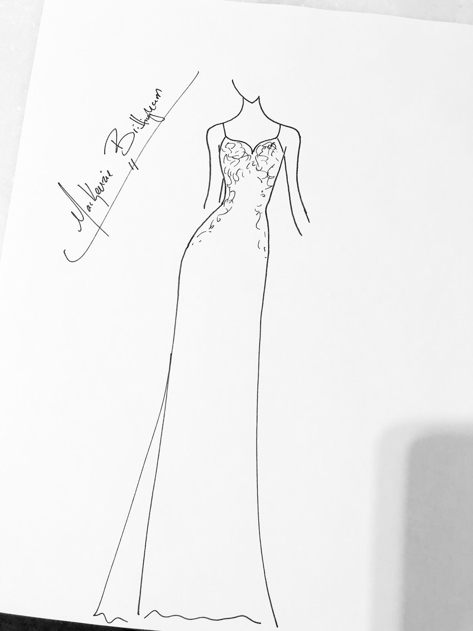 Mackenzie Brittingham sketch brighton keller reception dress