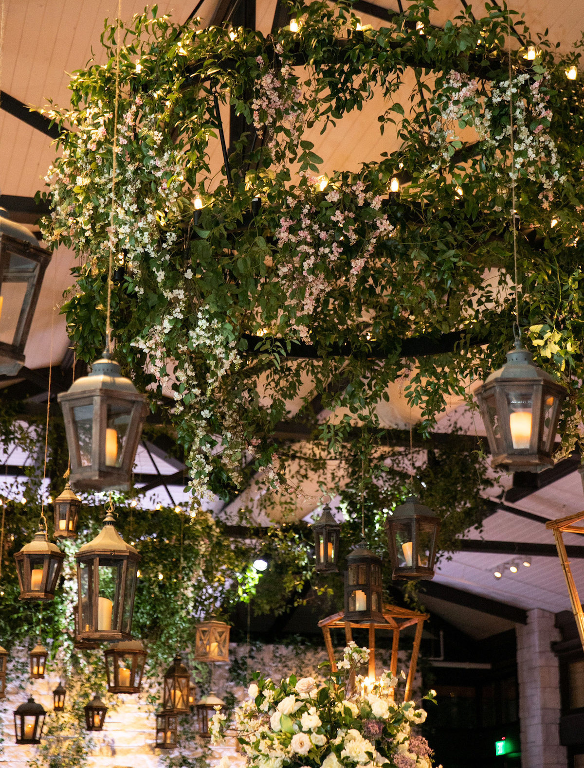 brighton keller wedding decor greenery on chandelier