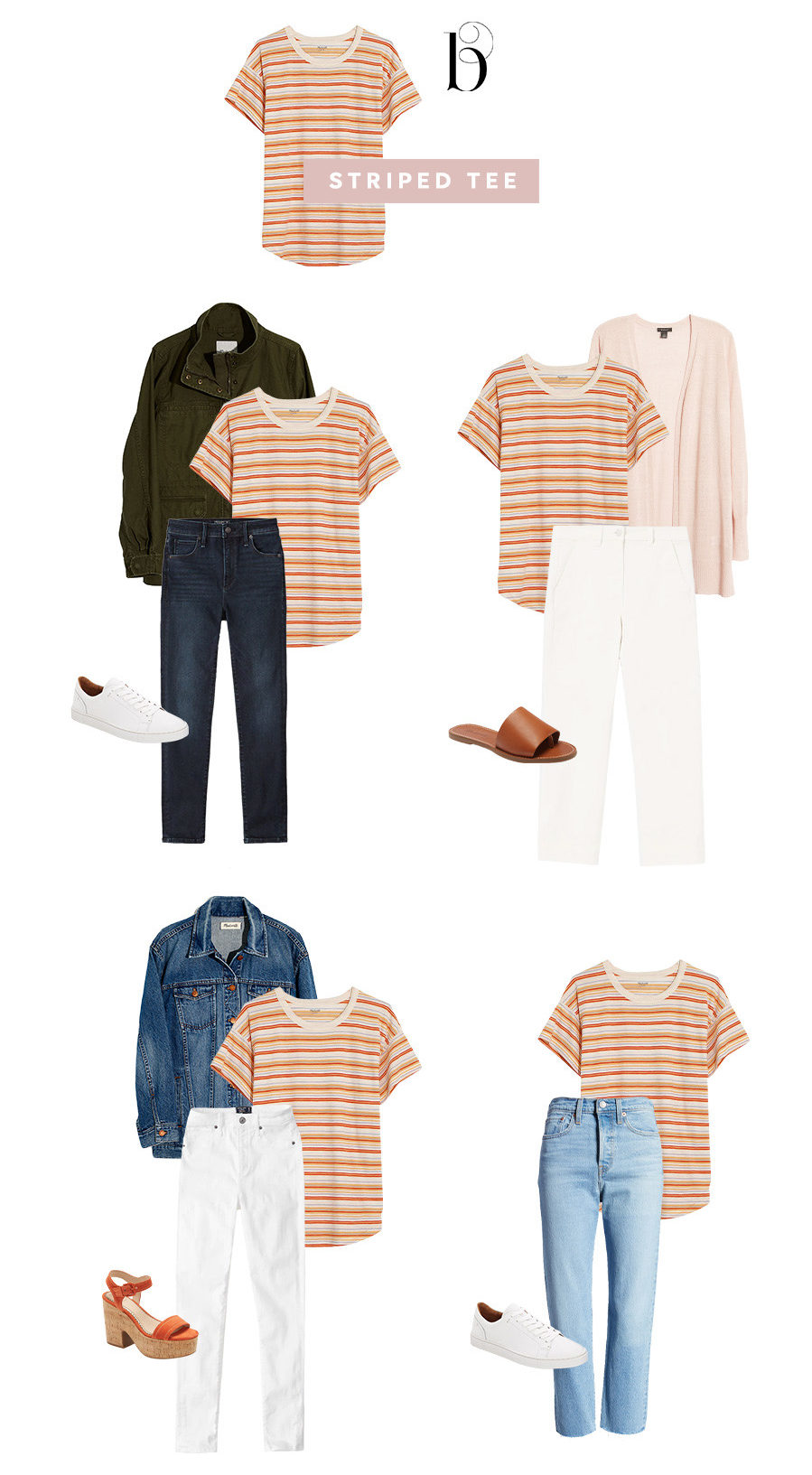 how to style striped tee spring capsule wardrobe