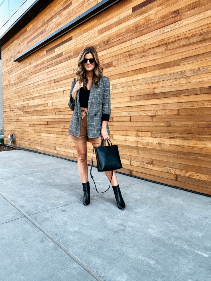 Fall Trends I'm Excited About Plaid Blazer Leather Shorts Booties