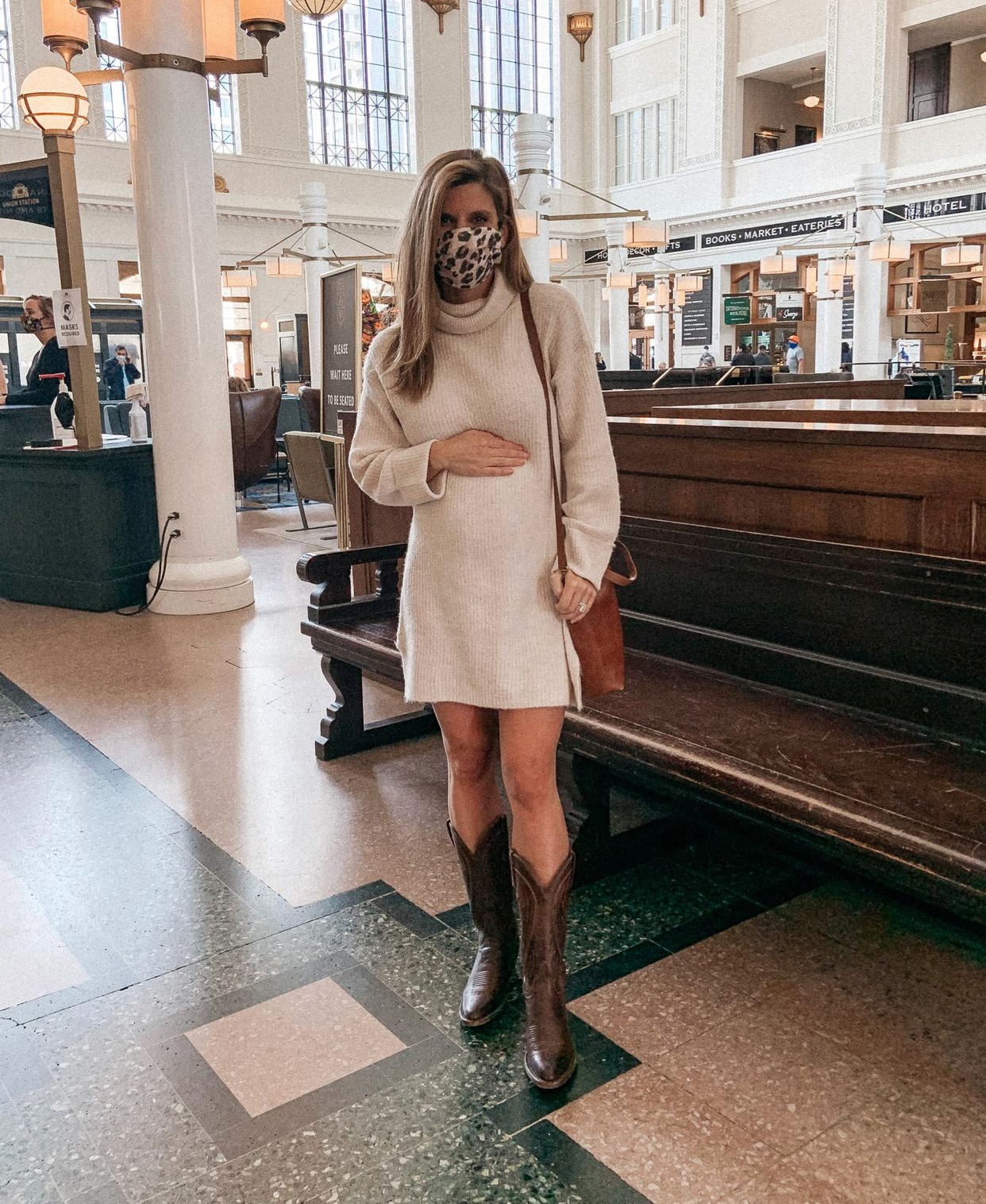October Favorites Free People Sweater Dress Face Mask Leather Crossbody Boots Fall Outfit Inspo