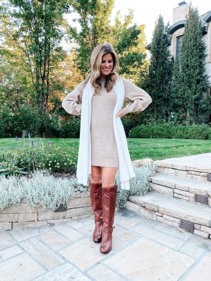 Cute fall clothes under $100 Abercrombie & Fitch Sweater Dress Beige