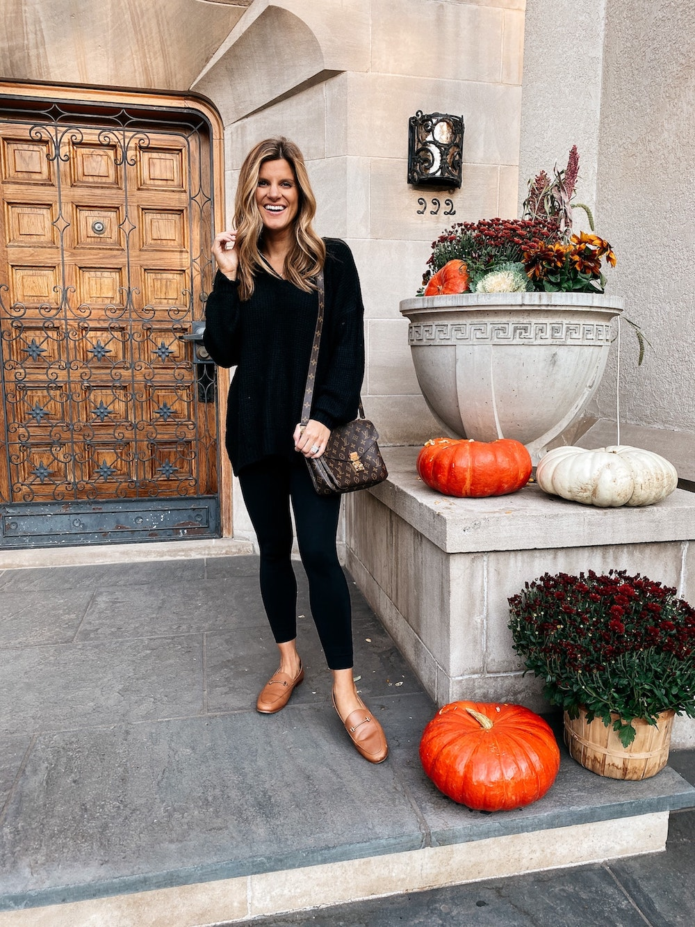 October 2020 - Brighton Butler Fall Outfit Ideas, 2nd trimester outfit with leggings and oversized sweater