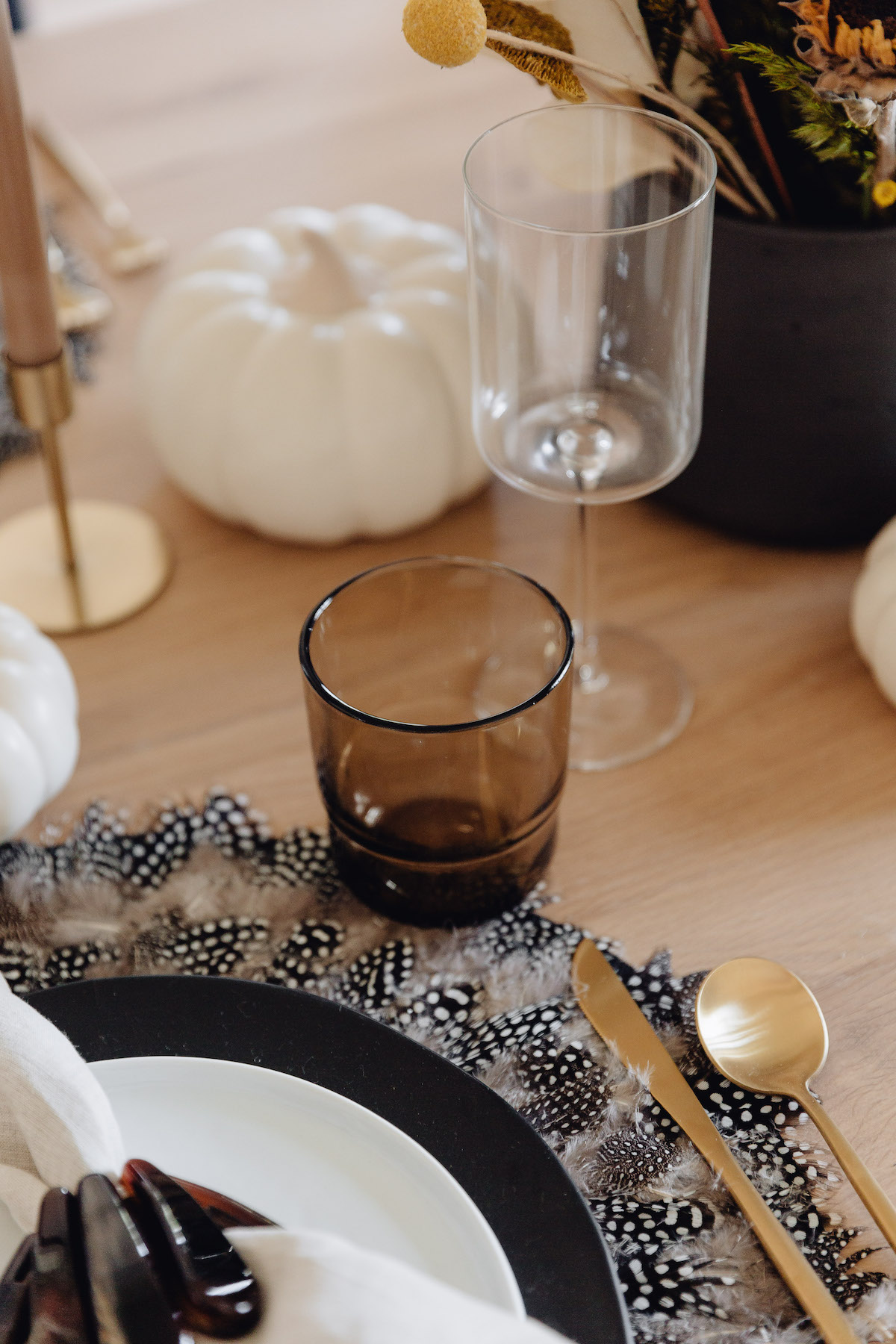 taupe and black table setting, fall tablescape, place setting, our place stackable glasses