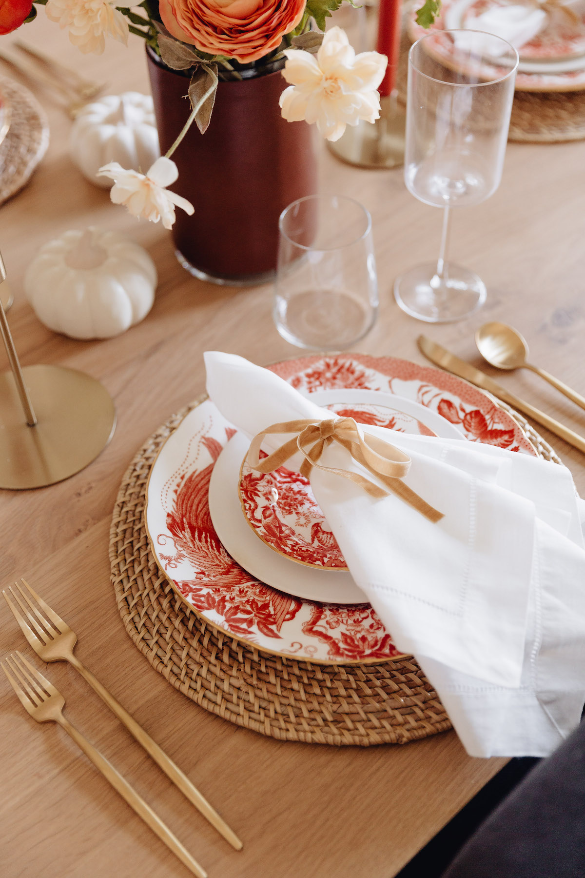 Brighton Butler Fall Tablescape with orange china and candles