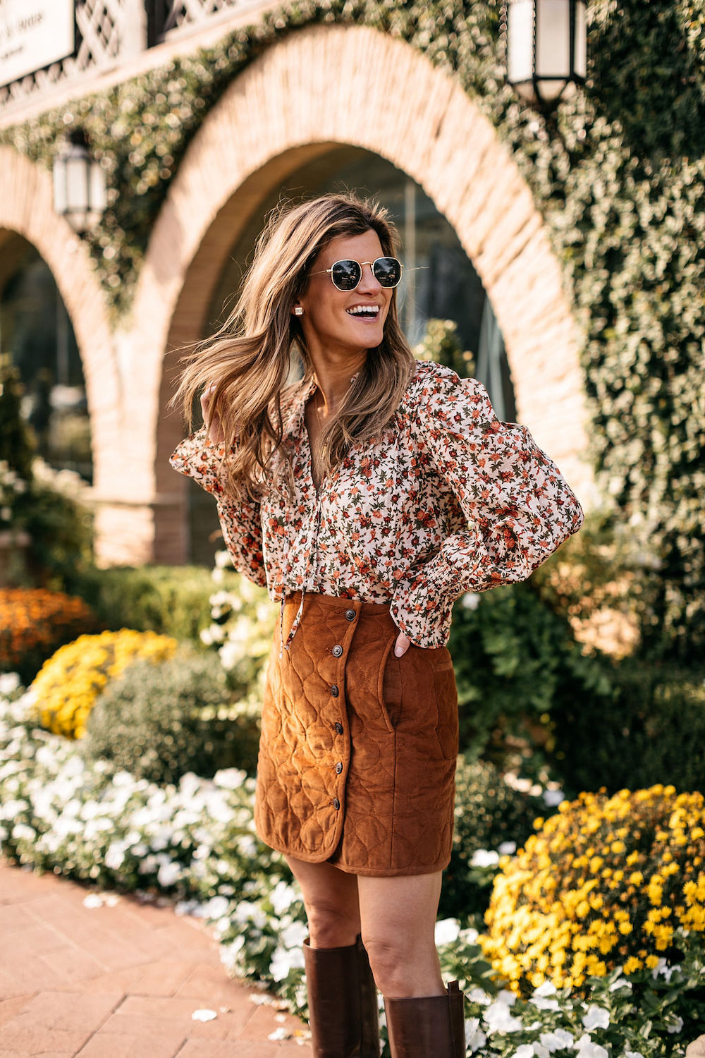 fall outfit burnt orange skirt floral top knee high boots